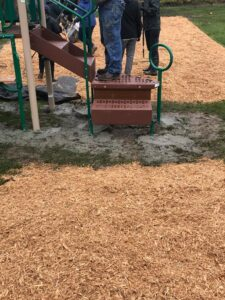 drying cement under play ground