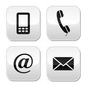 contact phone, text, email, mail symbols