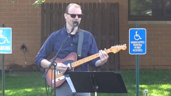 Steve plays guitar