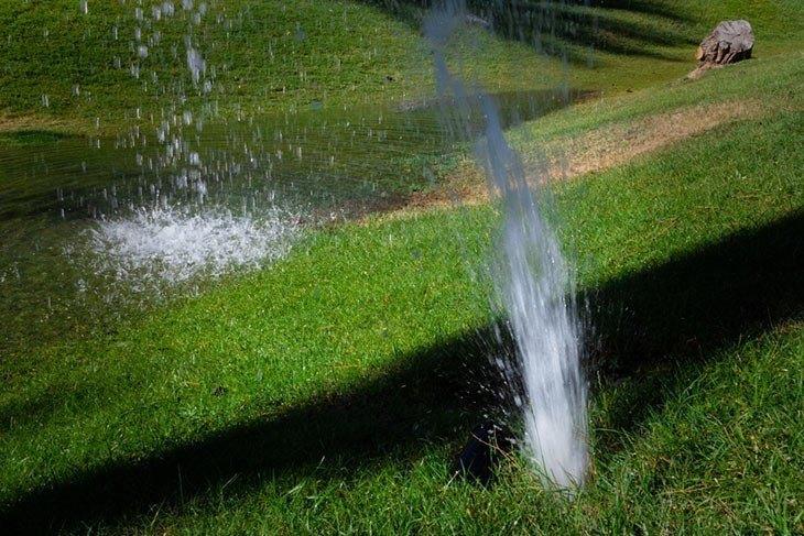 Broken Sprinklerheads Waste Water in the Dark