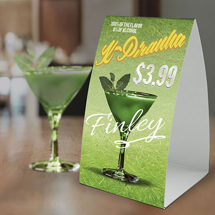 Table Tents, Custom Table Tents, Full Color Table Tents, Table Cards, Custom Table Cards, Table Top Signs, Custom Table Top Signs, Table Signs, Custom Table Signs