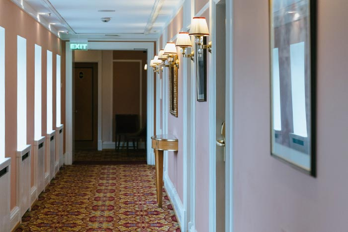 Hallway in a hotel covered with Hotel Insurance