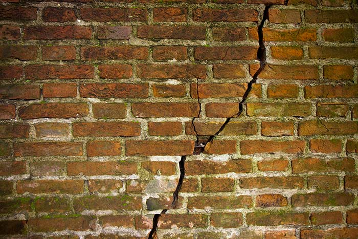 Crack in a brick wall caused by an earthquake