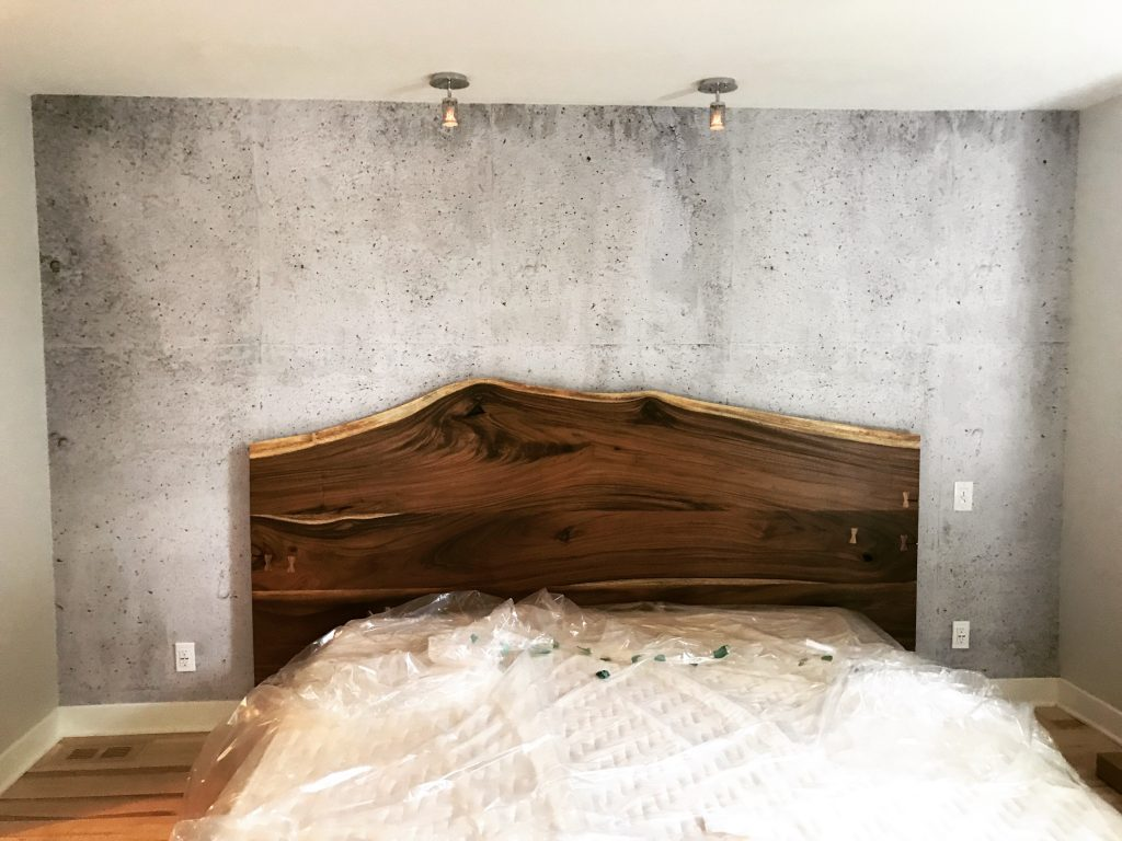 Mur chambre à coucher en vinyle autocollant fini béton