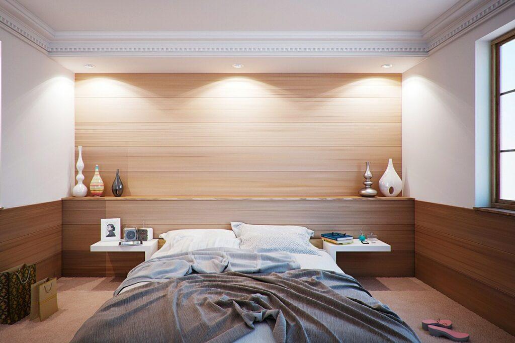 Vinyl autocollant texture bois sur mur de chambre à couché