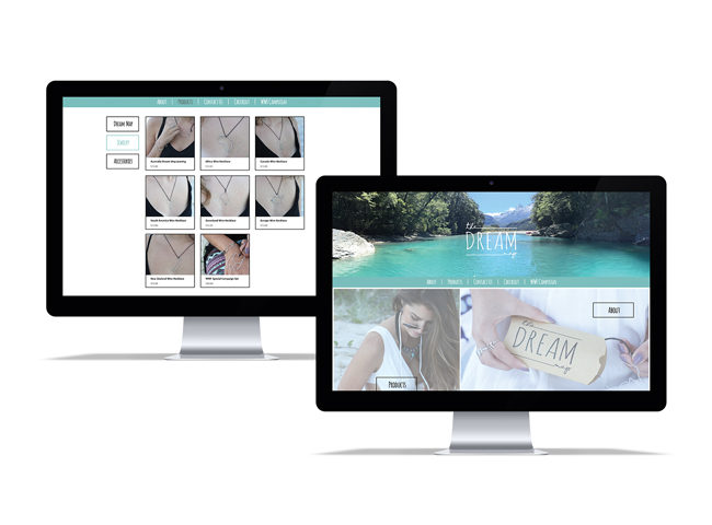 Website homepage and jewelry product page