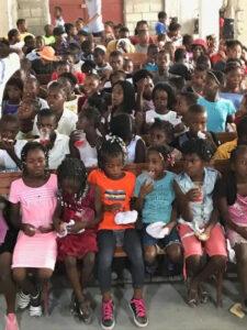 children in Haitian church