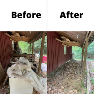 A before and after photo showing the outside of a red shed. On the left you can see junk and clutter, w