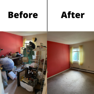 A before and after shot of a red room after junk removal. You can see furniture and junk cluttering the room on the left, and a cleared out room on the right.