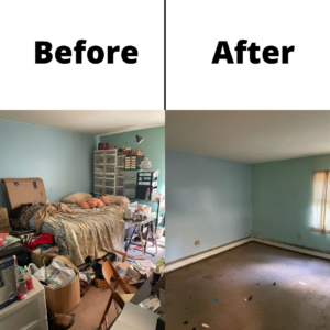 A before and after photo of a light blue room's junk removal. You can see a room filled with debris and old furniture on the left, and a cleared out room on the right.
