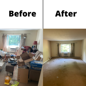 A before and after picture showcasing the effects of a property cleanout on a room. On the left, you can see a room filled with clutter and junk, while on the right you can see a room free of it.