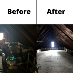 A before and after photo of an attic cleanout. The before photo on the left shows a room filled with junk and the right shows a room free of it.