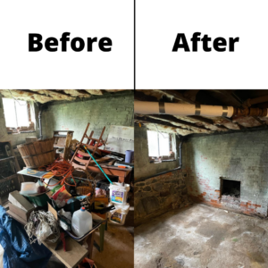 A before and after picture showing a basement being cleaned of debris and junk. The before shot on the left shows a room filled with junk and the after shot shows a clean room.