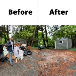 A before and after photo of a junk removal service. On the left you can see a yard filled with debris and a man doing a thumbs up. On the right, you can see the yard free and clear of debris.