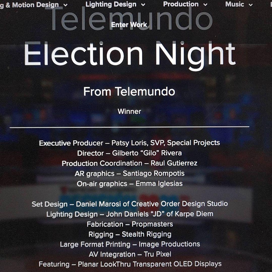 Propmasters Telemundo 2016 Election Night Award 01