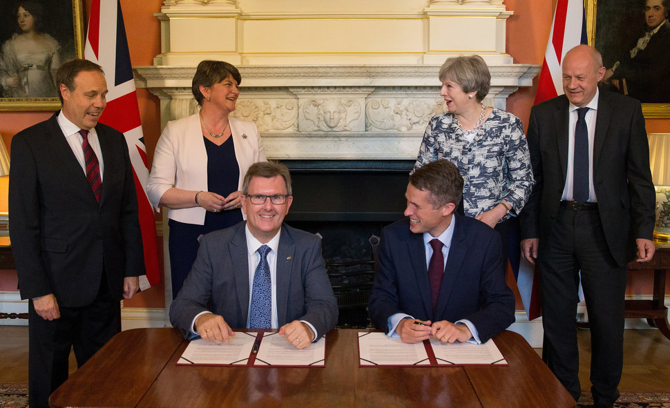DUP chief whip Jeffrey Donaldson and then Government Chief Whip Gavin Williamson in 2016