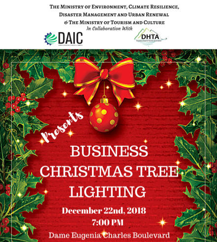 First Business Christmas Tree Lighting at Dame Eugenia Charles Boulevard!