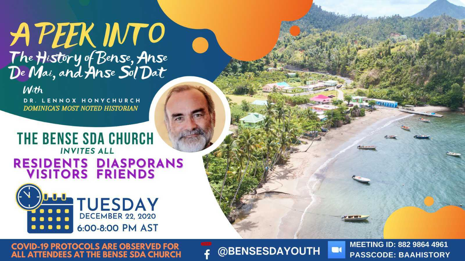 Announcement: History of Bense, Anse De Mai and Anse Sol Dat by Dr. Lennox Honychurch