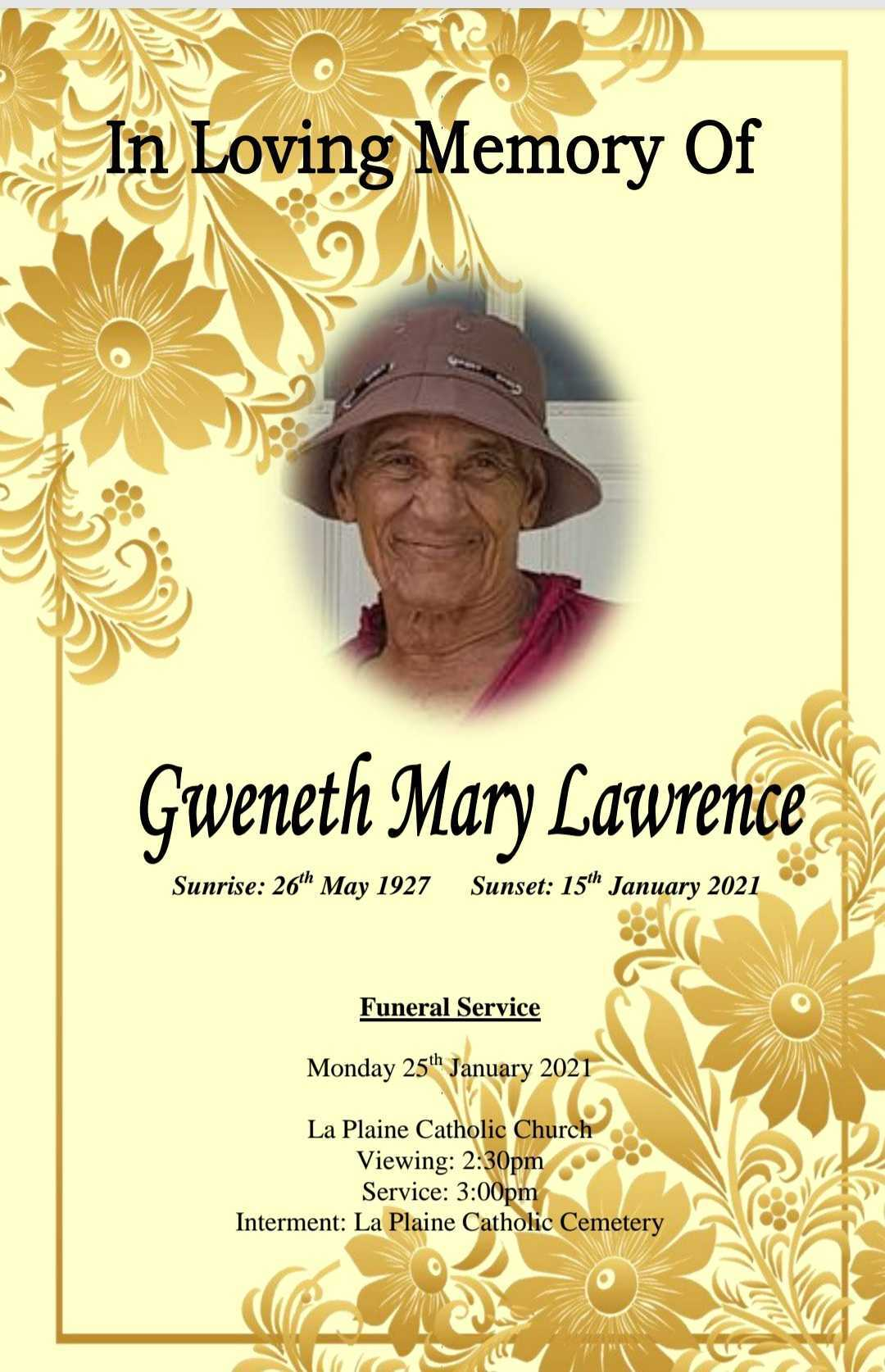 Death Announcement of Gweneth Mary Lawrence nee Bruney of Laplaine