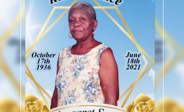 Death announcement of 84 year old Margaret Sango of Hillsborough St, Roseau