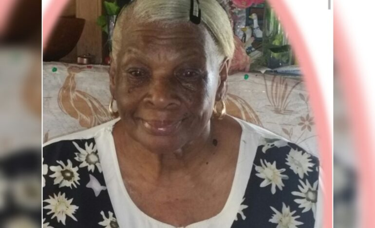 Death Announcement of 83 year old Monica Lawrence 'nee' Matthew better known as 'Ma Simon', 'Ma Tams' and 'Ma Sye' of Morne Jaune who resided in Riviere Cyrique