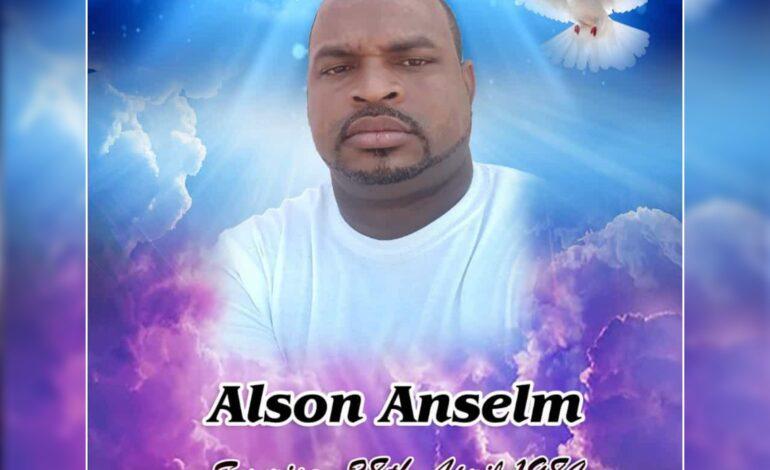 Death Announcement of 37 year old Alson 'Al' Anselm of Dublanc