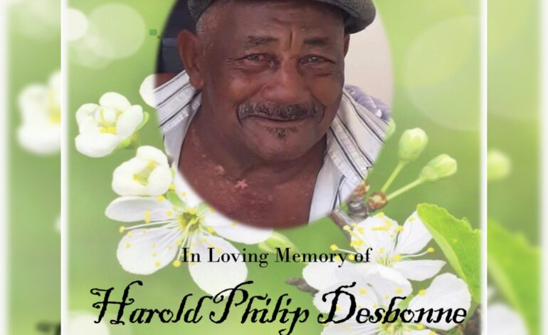 Death announcement of 81 year old Phillip Harold Desbonne better known as Hard and D8 of Guilette who resided in Lagoon Portsmouth