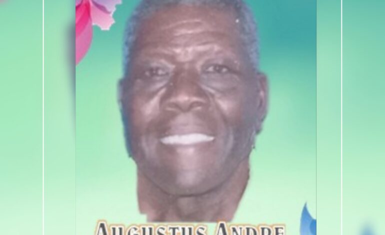 Death Announcement of 73 year old Augustus Andre of Capuchin