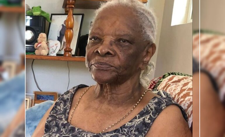 Death Announcement of 96 years old Catherina Matilda Fontaine nee Alexander of Hagley Grand Bay who resided in London England