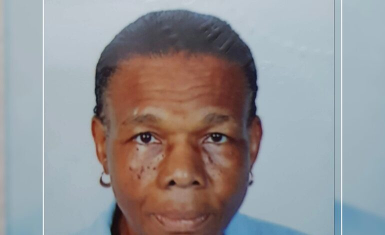 """Death Announcement of 86 year old Syldonie Moses better known as """"Ma Moses"""" of Newtown"""