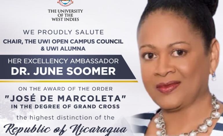 "The UWI congratulates Ambassador Dr the Honourable June Soomer on receiving the Order ""José de Marcoleta"""