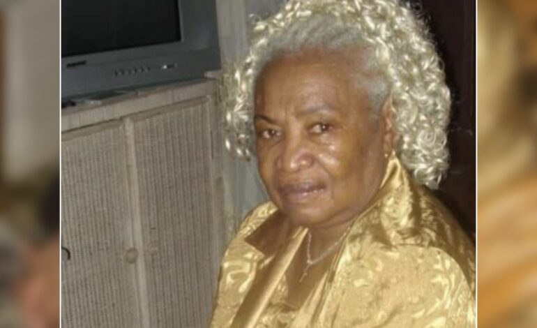 Death Announcement of 85 year old  Evelyn Maria Henry nee Jolly also known as Pando of St Joseph who died in Antigua