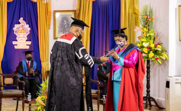 Governor General of Barbados, Dame Sandra Mason salutes The UWI upon receiving honorary degree