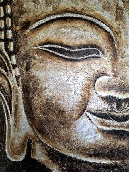 Buddha head representing intuitive peaceful meditation mindset