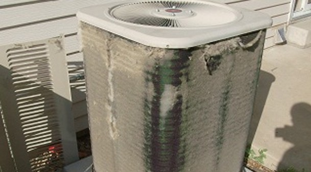 dirty air conditioner condensor coil needs cleaning in Colorado