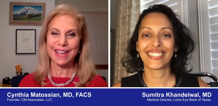 A screenshot of a video with Doctors Cynthia Matossian and Sumitra Khandelwal