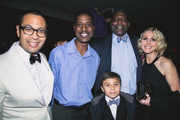 (From L to R) Jeff David, Managing Director, The Knickerbocker Hotel (far left) and Larry Johnson, former New York Knicks player (second from right). mingle with guests during the New Year's Eve festivities at The Knickerbocker Hotel. The Knickerbocker Hotel, located at the edge of Times Square and rumored to be the birthplace of the Martini, celebrated its first New Year's celebration after 95 years since it reopened in February 2015.