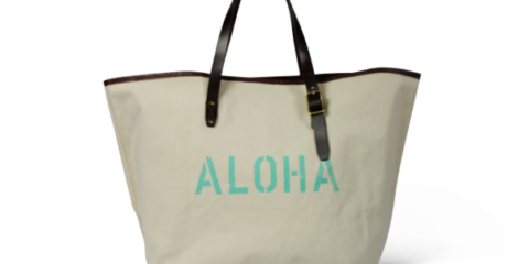 Kempton & Co Aloha Leather And Canvas Tote