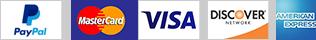 Paypal - MasterCard - VISA - Discover - American Express