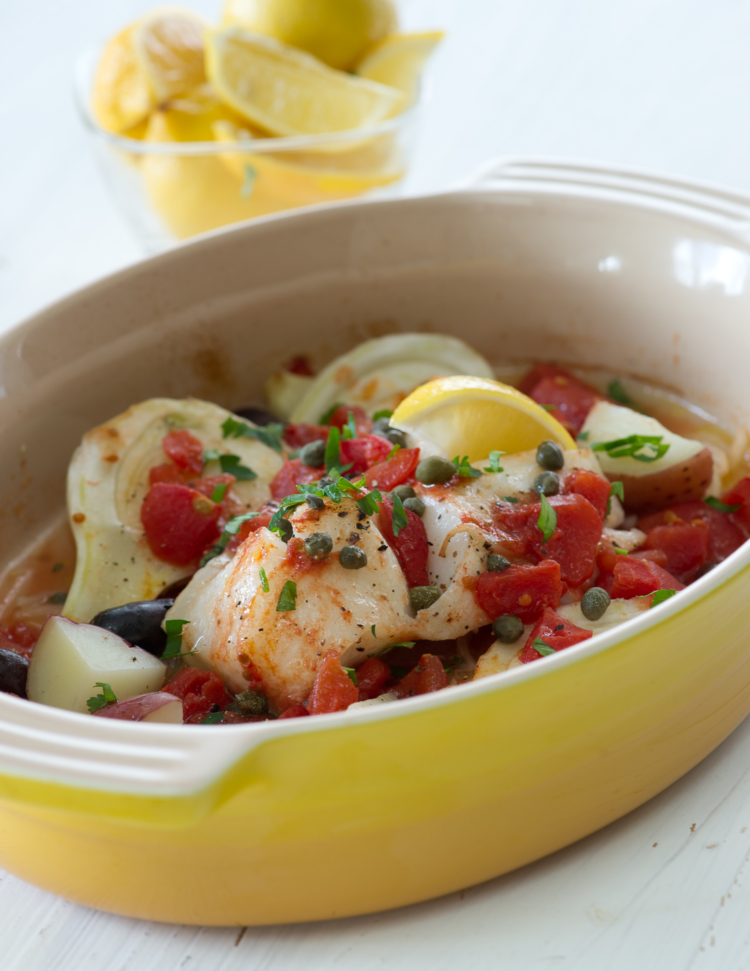 Roasted Sea Bass With Tomatoes, Fennel and Capers