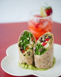 ROASTED CHICKEN WRAPS WITH BLACK BEAN SALSA, ARUGULA, AND AVOCADO SPREAD!