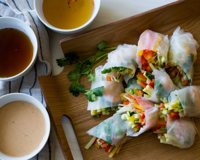 SPRING ROLLS WITH 3 DIPPING SAUCES!