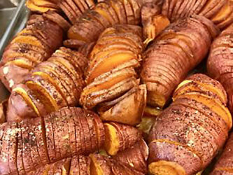 THANKSGIVING SIDES, ROASTED CARAMELIZED HASSELBACK POTATOES!!!!