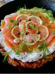 SALMON PIZZA ON CRISPY HASHBROWNS