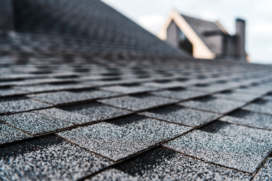 Shingles on rooftop of building