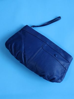 Royal Blue Leather Clutch