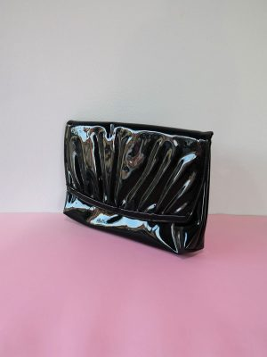 80's Black Patent leather Evening Bag/ Clutch with Ruffle Detail