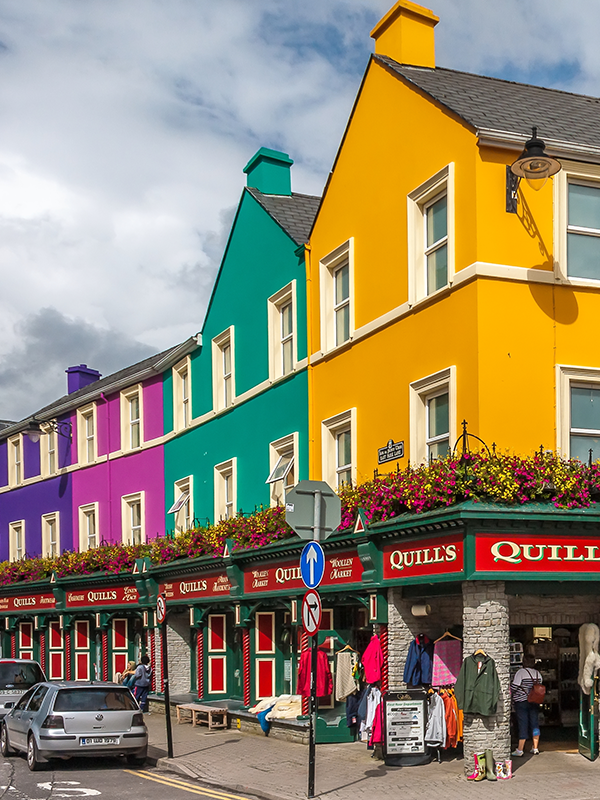 Colorful streets of Kenmare Ireland