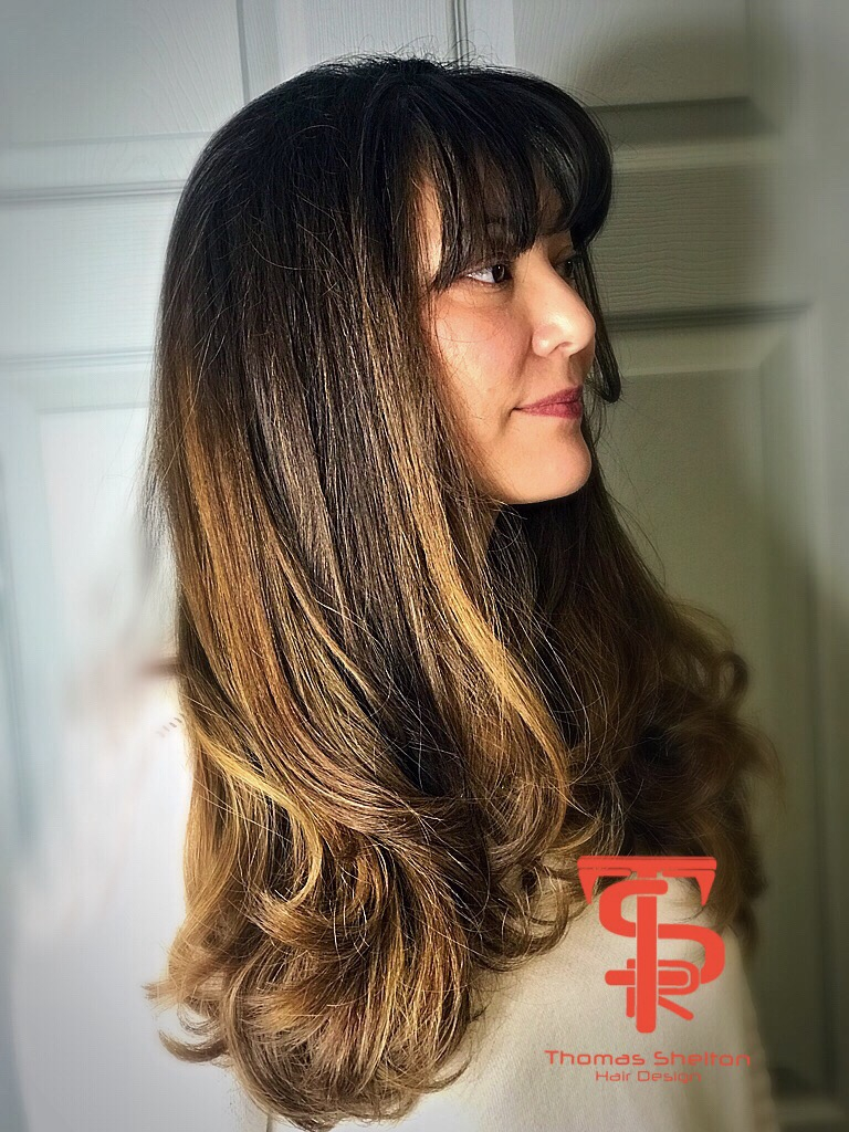 Thomas Shelton's Client With Honey Highlights on Dark Hair