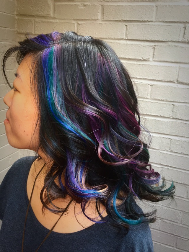 Thomas Shelton's Client With Multicolored Highlights on Dark Hair